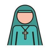 Woman nun icon. Woman nun with religious cross icon over white background. vector illustration Stock Image
