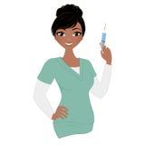 Woman nurse. Nurse in green scrubs with needle stock illustration