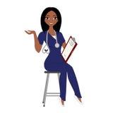 Woman nurse. Nurse in purple scrubs with stethoscope and clipboard vector illustration