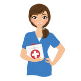 Woman nurse. Young woman nurse with first aid kit stock illustration