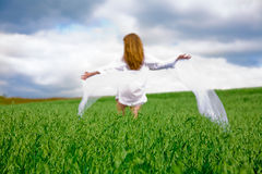 Woman on oat field Royalty Free Stock Image