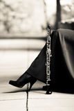 Woman with oboe royalty free stock photography