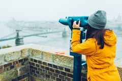 Woman at observation deck enjoy view of the city Royalty Free Stock Photography