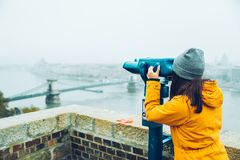 Woman at observation deck enjoy view of the city Stock Photo