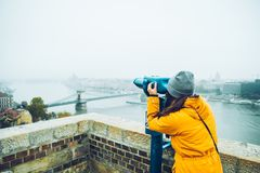 Woman at observation deck enjoy view of the city Royalty Free Stock Photos