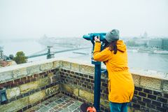 Woman at observation deck enjoy view of the city Stock Photography