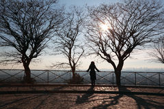 Woman on observation platform looking on Paris Royalty Free Stock Images