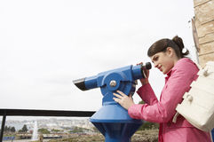 Woman at Observatory Smiling Royalty Free Stock Image