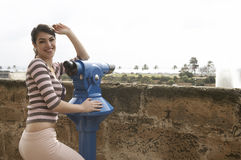 Woman at Observatory Smiling Royalty Free Stock Photography