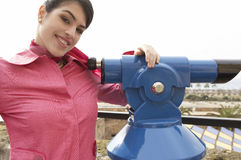 Woman at Observatory Smiling Stock Photo