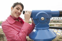 Woman at Observatory Smiling Royalty Free Stock Images