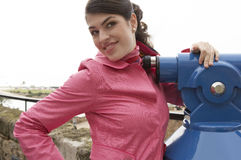 Woman at Observatory Smiling Royalty Free Stock Photo