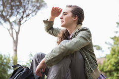Woman observing something Royalty Free Stock Photo