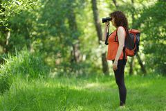 Woman observing wildlife Stock Images