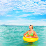 Woman in an ocean Royalty Free Stock Images