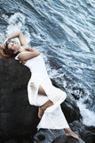 Woman and ocean Royalty Free Stock Photography