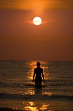 Woman in the ocean Royalty Free Stock Photography