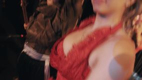 Woman in ocean themed red shrimp cabaret costume dancing on funny troupe scene. Close up stock video