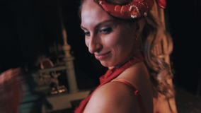 Woman in ocean themed red shrimp carnival costume dancing on scene. Close up stock footage