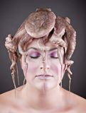 Woman with octopus Royalty Free Stock Image