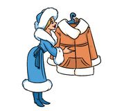 Woman offer to buy warm clothes cartoon illustration Stock Images