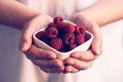Woman offering a bowl of raspberries Royalty Free Stock Photos