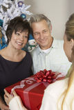 Woman Offering Christmas Present To Happy Couple Royalty Free Stock Photos