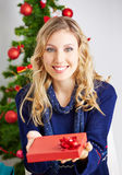 Woman offering gift for christmas Royalty Free Stock Photo