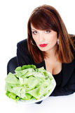 Woman offering green salad Stock Image