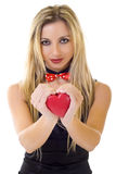 Woman offering her heart Royalty Free Stock Images