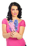 Woman offering hyacinth Stock Images