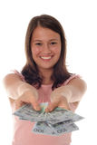 Woman Offering Money Stock Photo