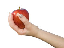 Woman offering a red apple Royalty Free Stock Photo