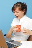 Woman in office. Laughing Royalty Free Stock Photo
