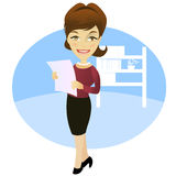 Woman in the office. With a document Royalty Free Stock Photo