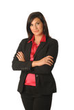 Woman of the office. An attractive business woman against a plain white background Stock Photography