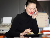 Woman in office. A portrait of a young business woman in an office Stock Photos