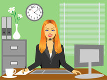 Woman in office vector illustration