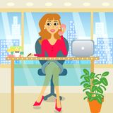 Woman in office. Attractive business woman in the office vector illustration vector illustration