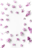 Woman office desk with lilac blossom design white background top view mockup royalty free stock photo