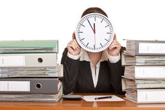 Woman in office has stress with time pressure Stock Images