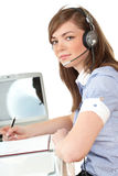 Woman in office with headset Stock Photos
