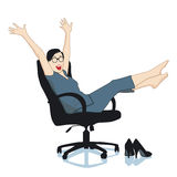 Woman in the office is pleased Stock Photo
