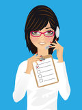 Woman in office, receptionist, operator. Woman wearing headset in office, receptionist, operator Stock Photo