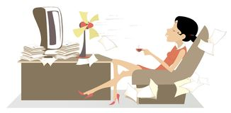 Heat in the office, woman, table fan and a cup of coffee or tea illustration royalty free illustration