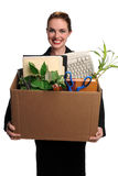 Woman With Office Supplies in box royalty free stock images