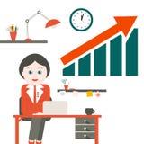 Woman in Office. Vector Secretary Royalty Free Stock Photo