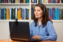 Woman office video online call