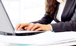 Woman in the office, work at the computer, Royalty Free Stock Photography