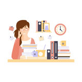 Woman Office Worker In Office Cubicle With Too Much Work Having Her Daily Routine Situation Cartoon Character. Vector Primitive Illustration With Company Royalty Free Stock Image